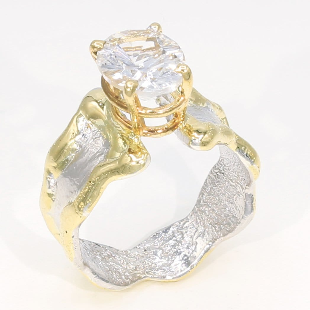14K Gold & Crystalline Silver White Topaz Ring - 35896-Fusion Designs-Renee Taylor Gallery