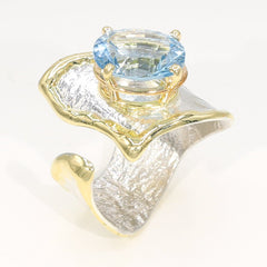 14K Gold & Crystalline Silver Sky Blue Topaz Ring - 35897-Fusion Designs-Renee Taylor Gallery
