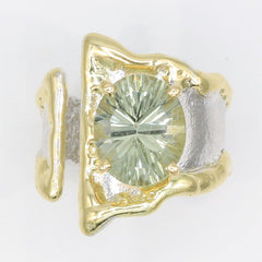 14K Gold & Crystalline Silver Prasiolite Ring - 35900-Fusion Designs-Renee Taylor Gallery