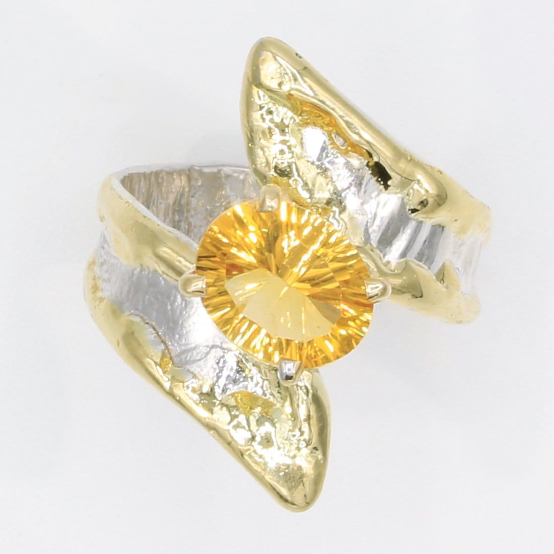 14K Gold & Crystalline Silver Citrine Ring - 35902-Fusion Designs-Renee Taylor Gallery