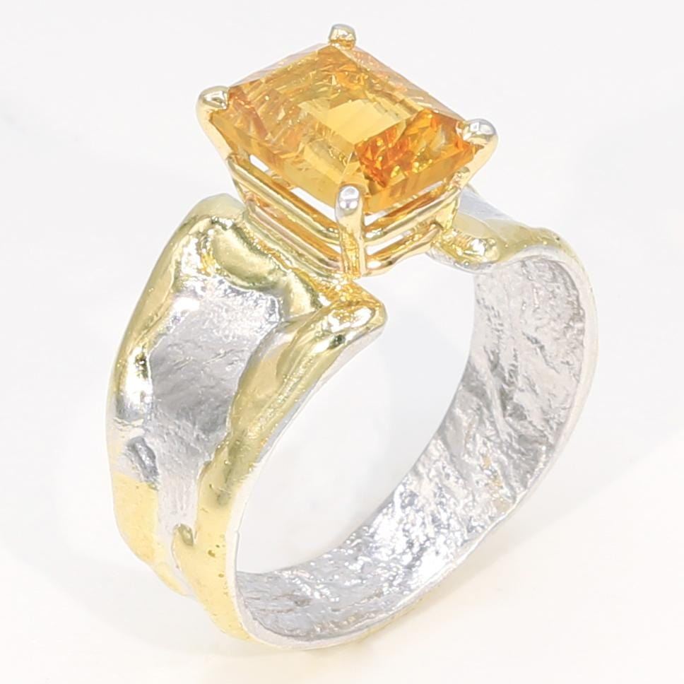 14K Gold & Crystalline Silver Citrine Ring - 35903-Fusion Designs-Renee Taylor Gallery