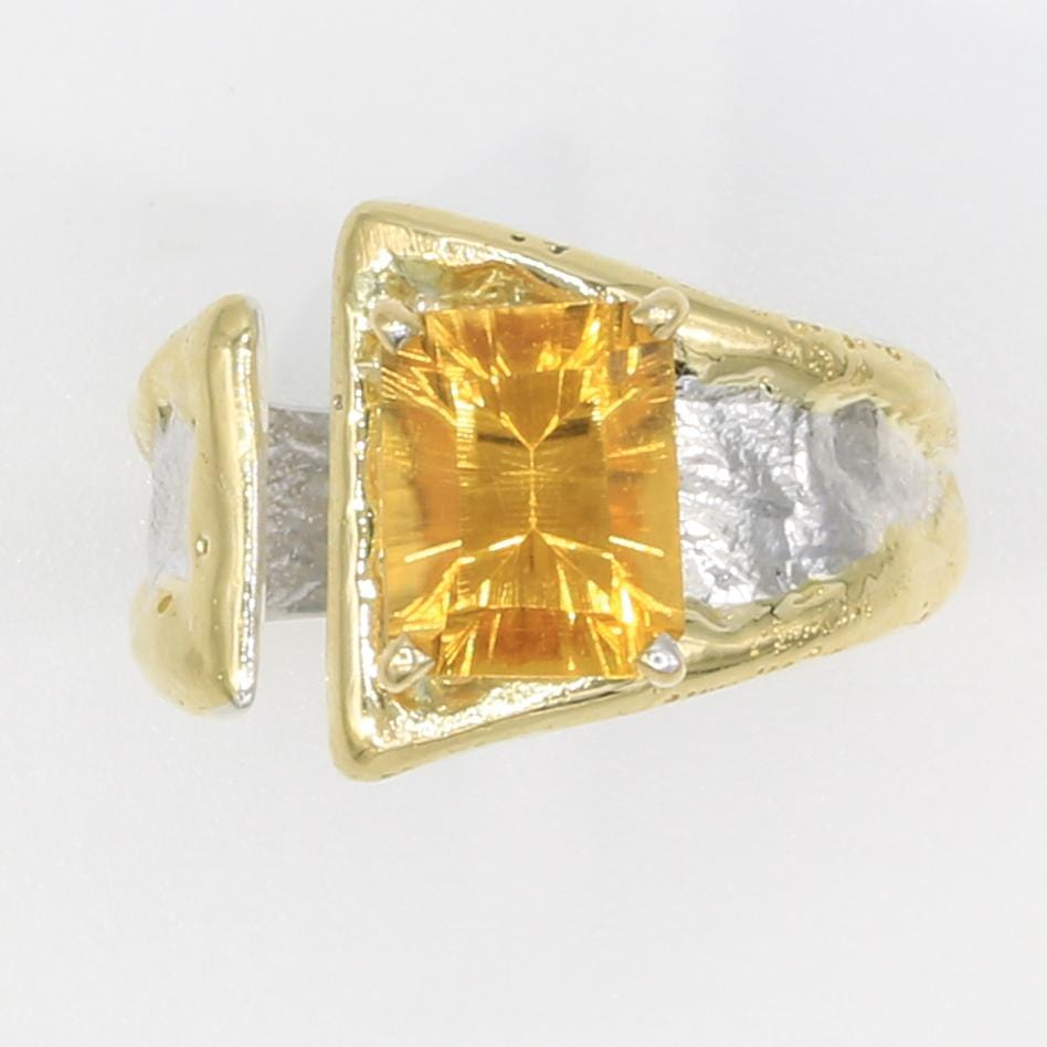 14K Gold & Crystalline Silver Citrine Ring - 35904-Fusion Designs-Renee Taylor Gallery