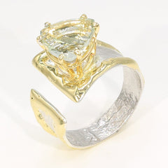 14K Gold & Crystalline Silver Prasiolite Ring - 35933-Fusion Designs-Renee Taylor Gallery