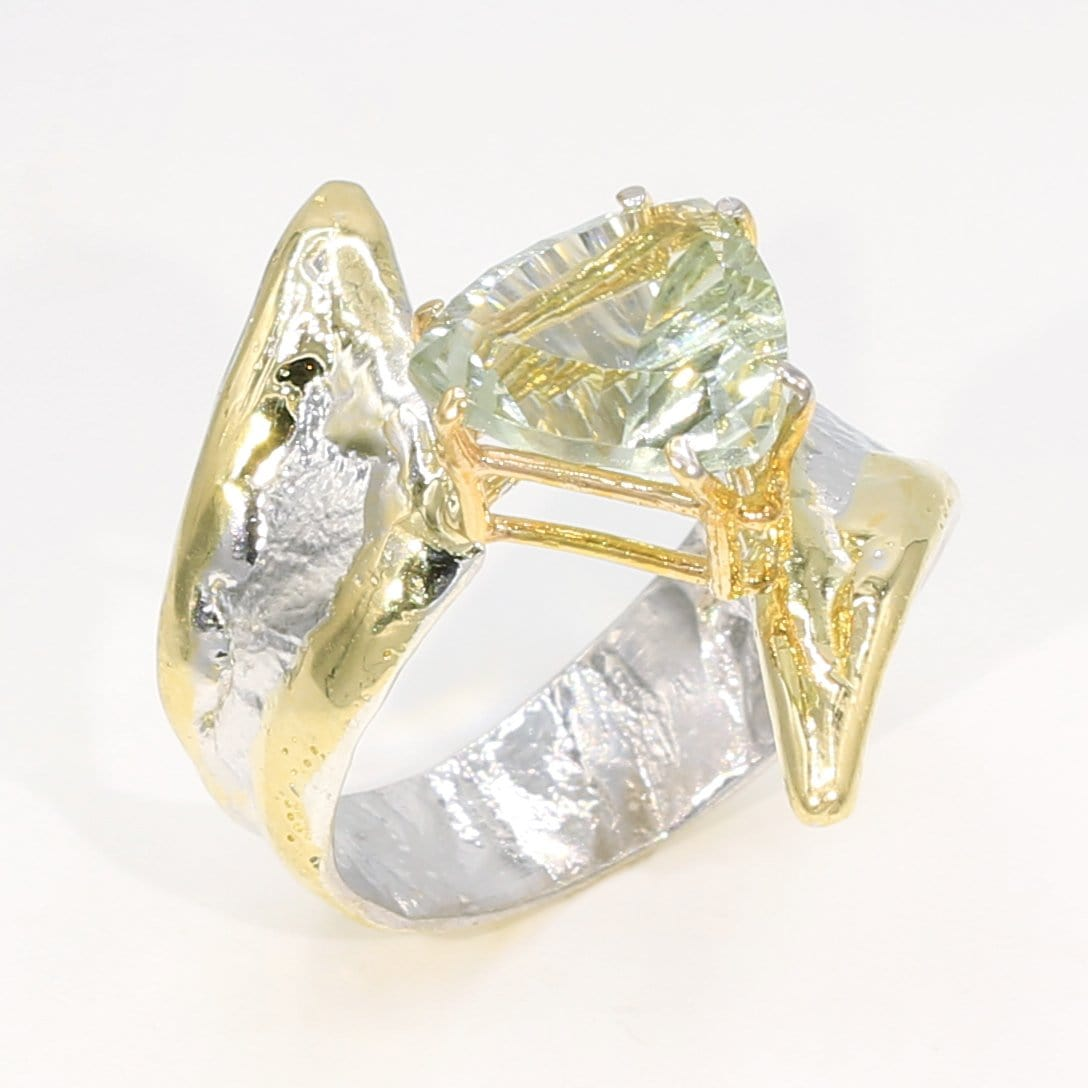 14K Gold & Crystalline Silver Prasiolite Ring - 35934-Fusion Designs-Renee Taylor Gallery