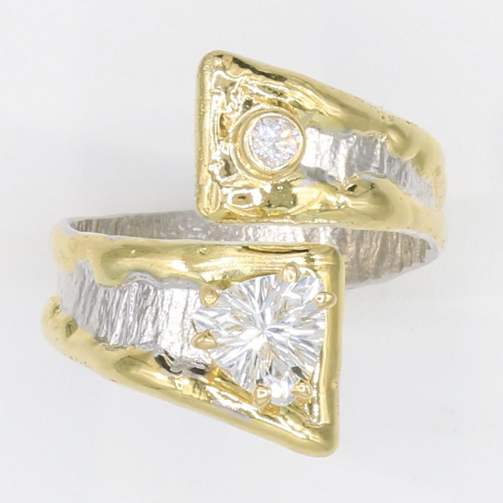 14K Gold & Crystalline Silver White Topaz & Diamond Ring - 35939-Fusion Designs-Renee Taylor Gallery