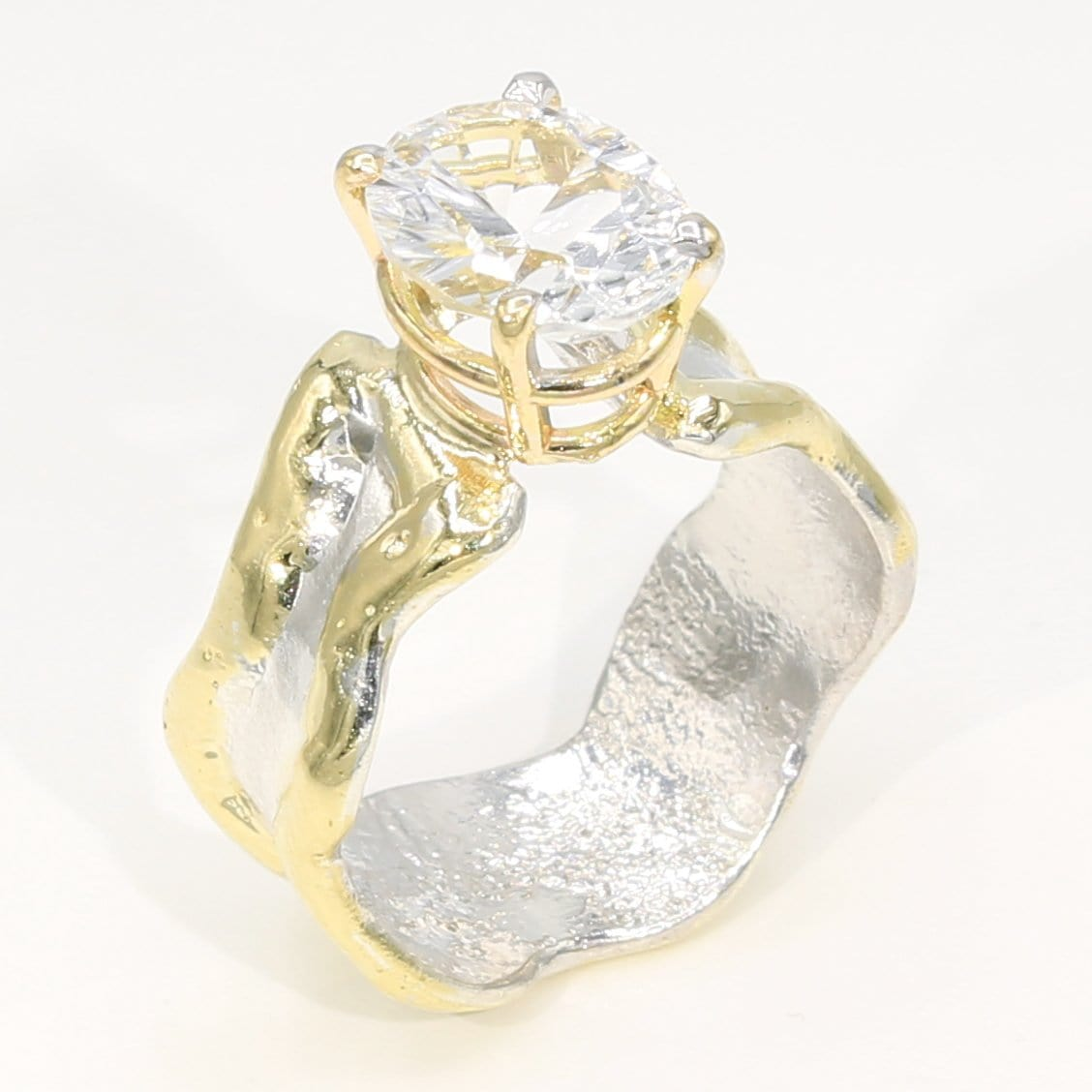 14K Gold & Crystalline Silver White Topaz Ring - 35940-Fusion Designs-Renee Taylor Gallery