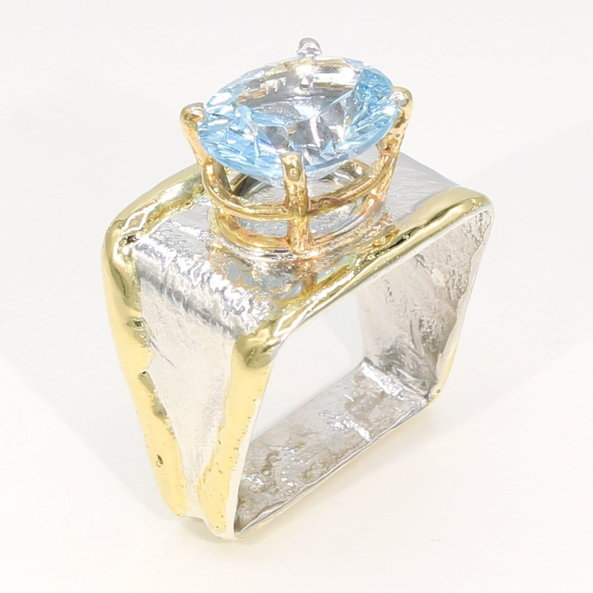 14K Gold & Crystalline Silver Sky Blue Topaz Ring - 35942-Fusion Designs-Renee Taylor Gallery
