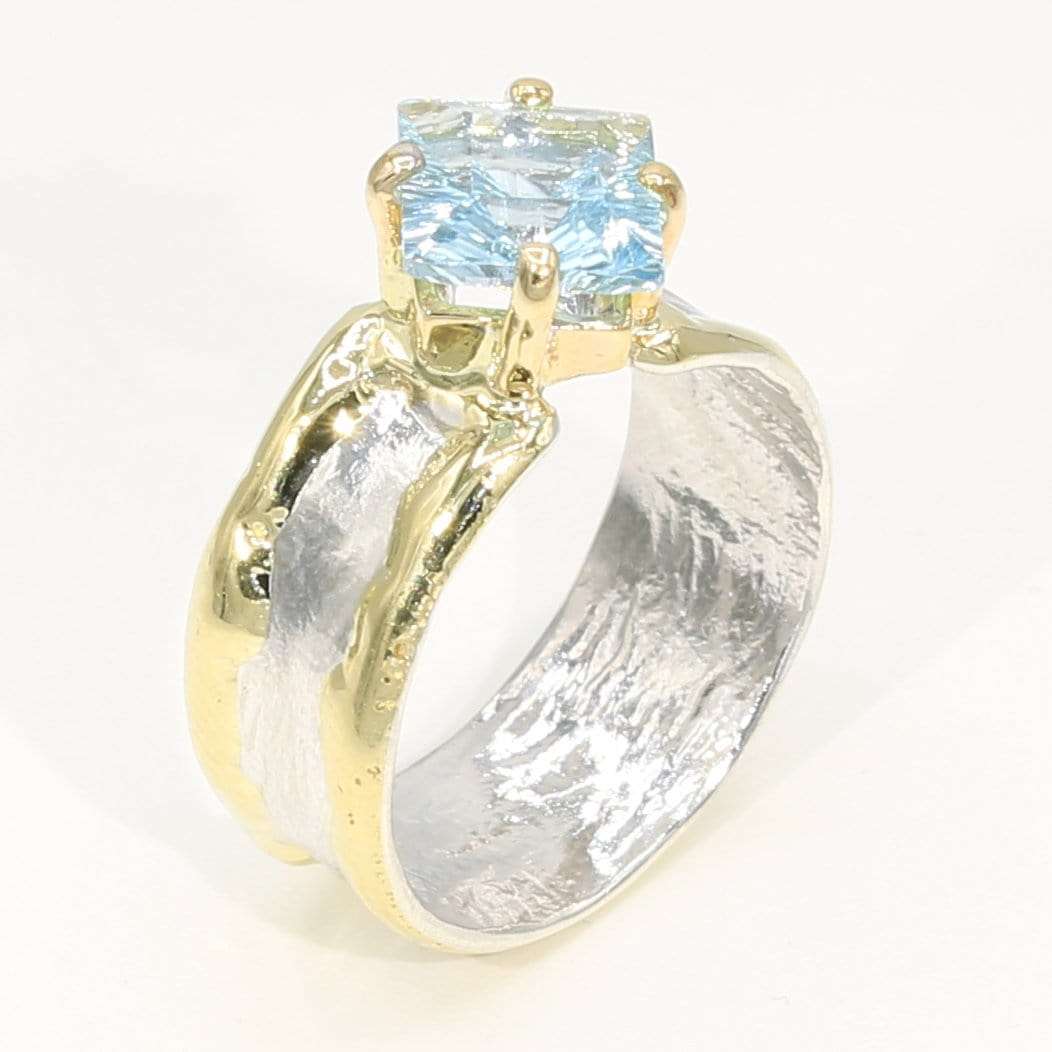 14K Gold & Crystalline Silver Sky Blue Topaz Ring - 35943-Fusion Designs-Renee Taylor Gallery
