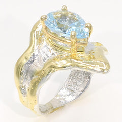 14K Gold & Crystalline Silver Sky Blue Topaz Ring - 35944-Fusion Designs-Renee Taylor Gallery