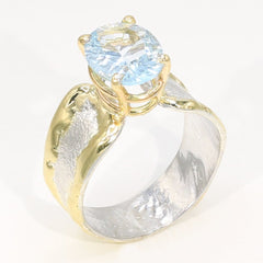 14K Gold & Crystalline Silver Sky Blue Topaz Ring - 35945-Fusion Designs-Renee Taylor Gallery