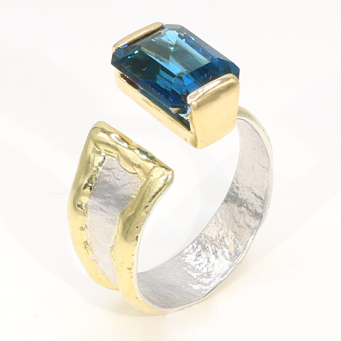 14K Gold & Crystalline Silver London Blue Topaz Ring - 35946-Fusion Designs-Renee Taylor Gallery
