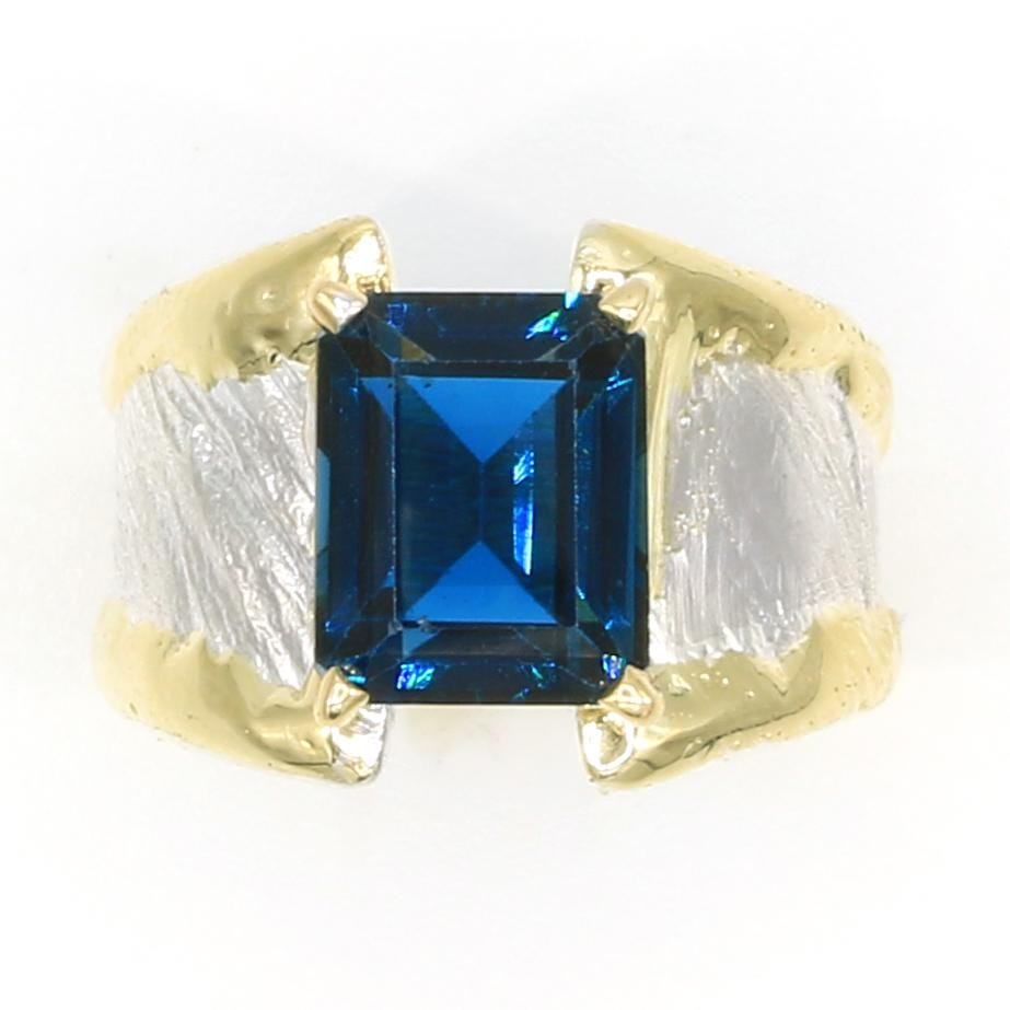 14K Gold & Crystalline Silver London Blue Topaz Ring - 35947-Fusion Designs-Renee Taylor Gallery