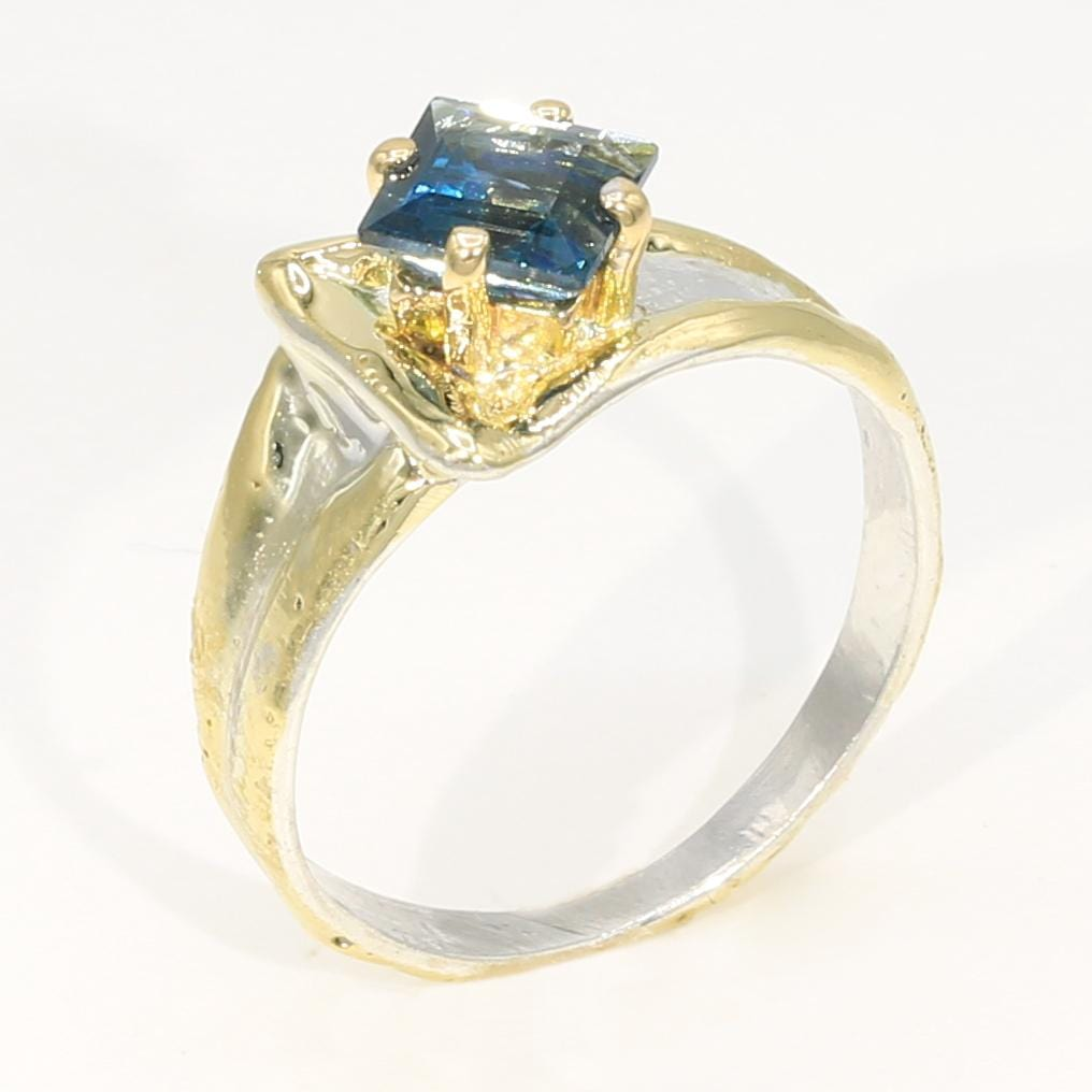 14K Gold & Crystalline Silver London Blue Topaz Ring - 35948-Fusion Designs-Renee Taylor Gallery