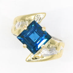 14K Gold & Crystalline Silver London Blue Topaz Ring - 35949-Fusion Designs-Renee Taylor Gallery