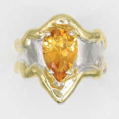 14K Gold & Crystalline Silver Citrine Ring - 35950-Fusion Designs-Renee Taylor Gallery