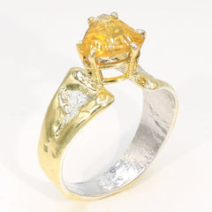 14K Gold & Crystalline Silver Citrine Ring - 35951-Fusion Designs-Renee Taylor Gallery