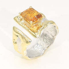 14K Gold & Crystalline Silver Citrine Ring - 35952-Fusion Designs-Renee Taylor Gallery