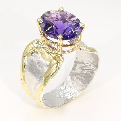 14K Gold & Crystalline Silver Amethyst Ring - 35953-Fusion Designs-Renee Taylor Gallery