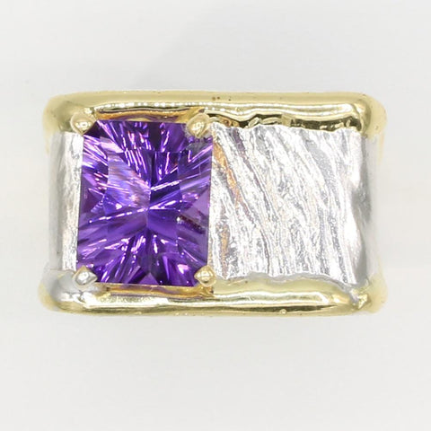 14K Gold & Crystalline Silver Amethyst Ring - 35954-Fusion Designs-Renee Taylor Gallery