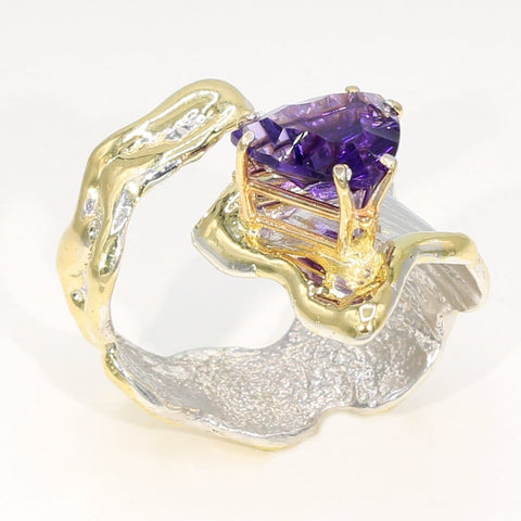 14K Gold & Crystalline Silver Amethyst Ring - 35955-Fusion Designs-Renee Taylor Gallery