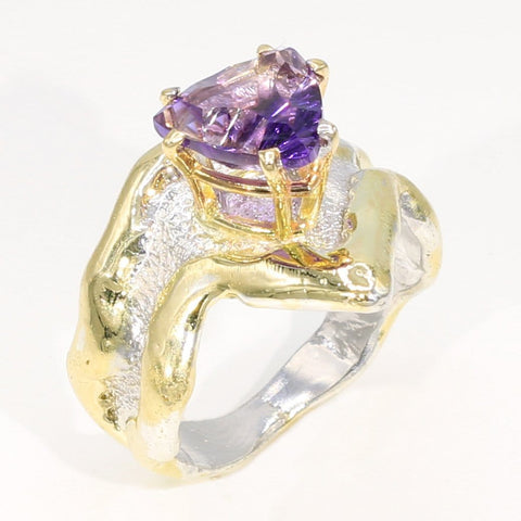 14K Gold & Crystalline Silver Amethyst Ring - 35956-Fusion Designs-Renee Taylor Gallery