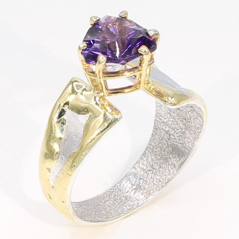 14K Gold & Crystalline Silver Amethyst Ring - 35957-Fusion Designs-Renee Taylor Gallery