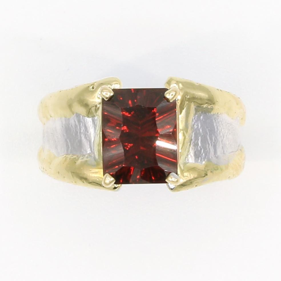 14K Gold & Crystalline Silver Garnet Ring - 35958-Fusion Designs-Renee Taylor Gallery