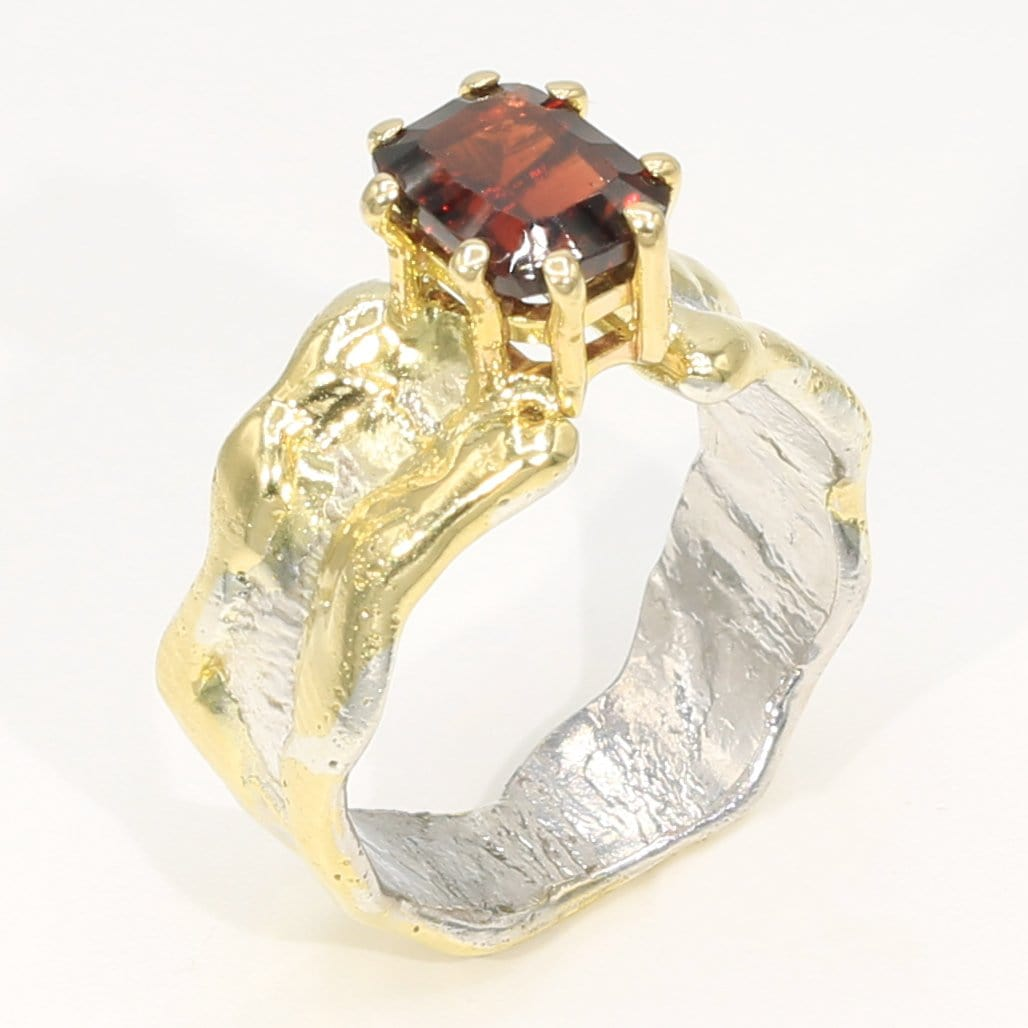 14K Gold & Crystalline Silver Garnet Ring - 35959-Fusion Designs-Renee Taylor Gallery
