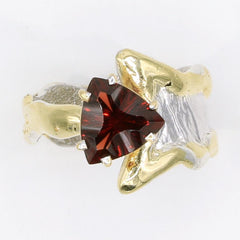 14K Gold & Crystalline Silver Garnet Ring - 35960-Fusion Designs-Renee Taylor Gallery