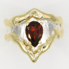14K Gold & Crystalline Silver Garnet Ring - 35962-Fusion Designs-Renee Taylor Gallery