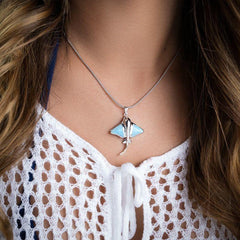 Manta Ray Necklace - Nmant00-ch-Marahlago Larimar-Renee Taylor Gallery