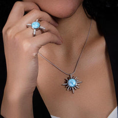 Destiny Necklace - Ndest00-00-Marahlago Larimar-Renee Taylor Gallery