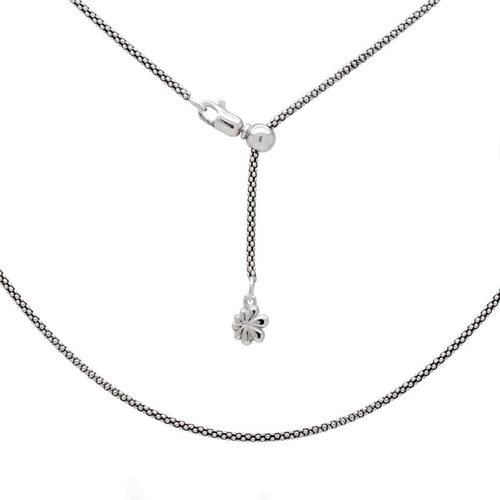 "Sterling Silver 21"" Adjustable 1.6mm Popcorn Chain-Renee Taylor Gallery-Renee Taylor Gallery"