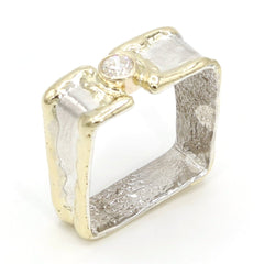 14K Gold & Crystalline Silver Diamond Ring - 37384-Fusion Designs-Renee Taylor Gallery