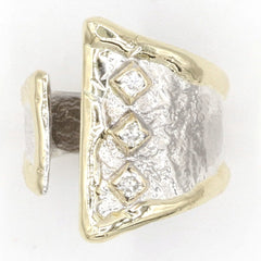 14K Gold & Crystalline Silver Diamond Ring - 37388-Fusion Designs-Renee Taylor Gallery