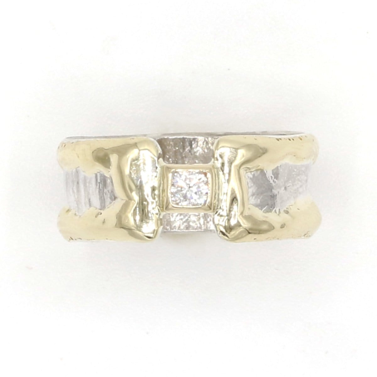 14K Gold & Crystalline Silver Diamond Ring - 37389-Fusion Designs-Renee Taylor Gallery