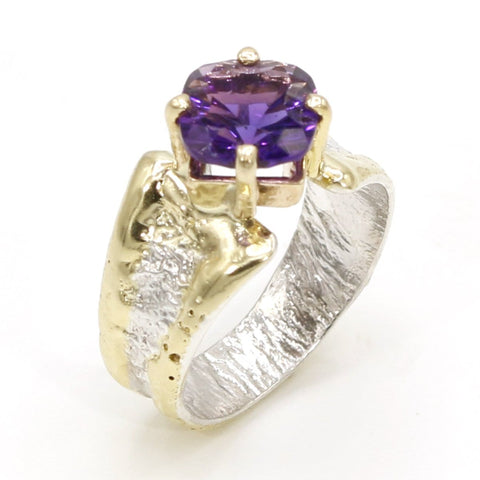 14K Gold & Crystalline Silver Amethyst Ring - 37391-Fusion Designs-Renee Taylor Gallery