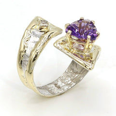 14K Gold & Crystalline Silver Diamond & Amethyst Ring - 37392-Fusion Designs-Renee Taylor Gallery