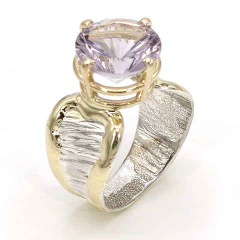 14K Gold & Crystalline Silver Amethyst Ring - 37393-Fusion Designs-Renee Taylor Gallery