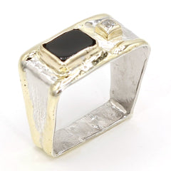 14K Gold & Crystalline Silver Diamond & Onyx Ring - 37394-Fusion Designs-Renee Taylor Gallery