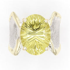 14K Gold & Crystalline Silver Margarita Quartz Ring - 37395-Fusion Designs-Renee Taylor Gallery