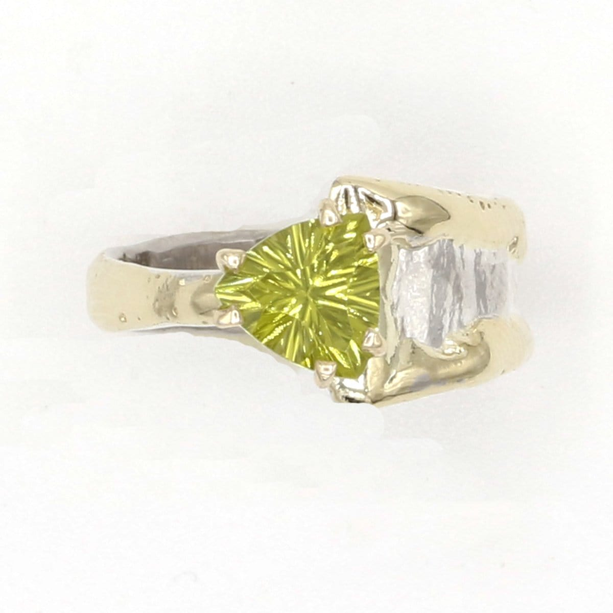14K Gold & Crystalline Silver Peridot Ring - 37399-Fusion Designs-Renee Taylor Gallery