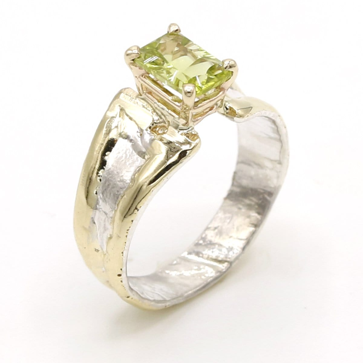 14K Gold & Crystalline Silver Peridot Ring - 37400