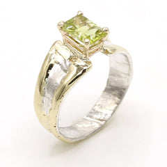 14K Gold & Crystalline Silver Peridot Ring - 37400-Fusion Designs-Renee Taylor Gallery