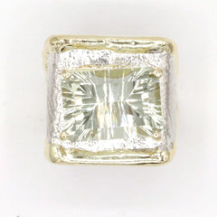14K Gold & Crystalline Silver Prasiolite Ring - 37401-Fusion Designs-Renee Taylor Gallery