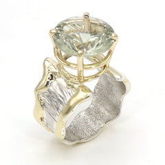 14K Gold & Crystalline Silver Prasiolite Ring - 37402-Fusion Designs-Renee Taylor Gallery