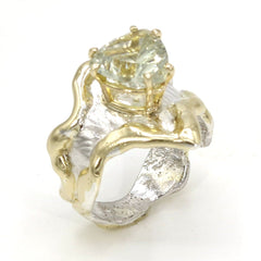 14K Gold & Crystalline Silver Prasiolite Ring - 37403-Fusion Designs-Renee Taylor Gallery