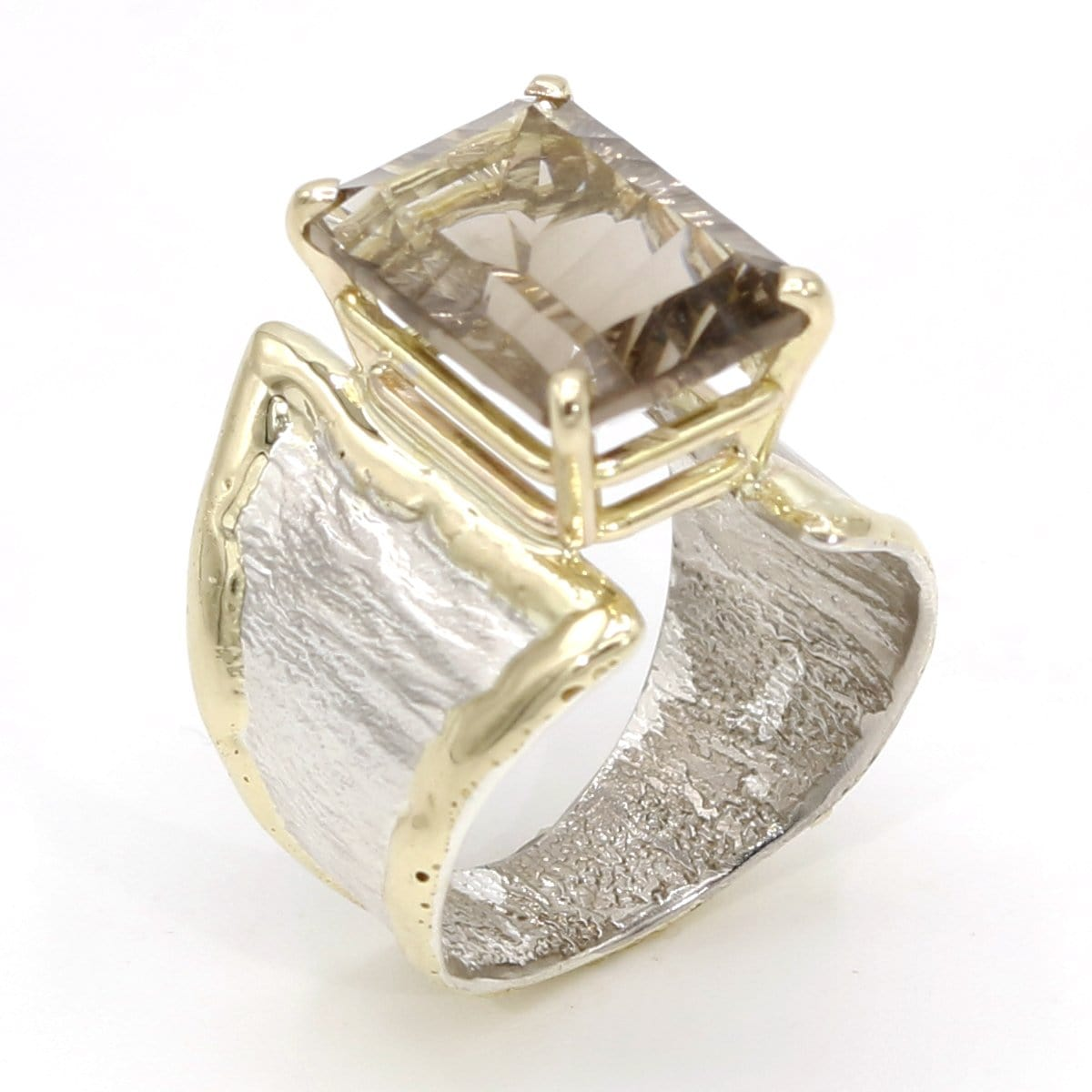 14K Gold & Crystalline Silver Smoky Quartz Ring - 37404