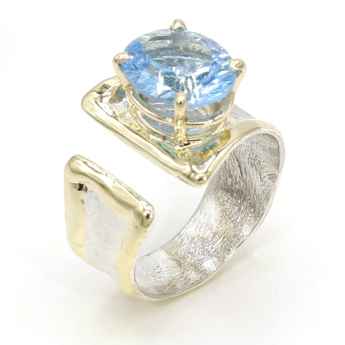 14K Gold & Crystalline Silver Blue Topaz Ring - 37406-Fusion Designs-Renee Taylor Gallery