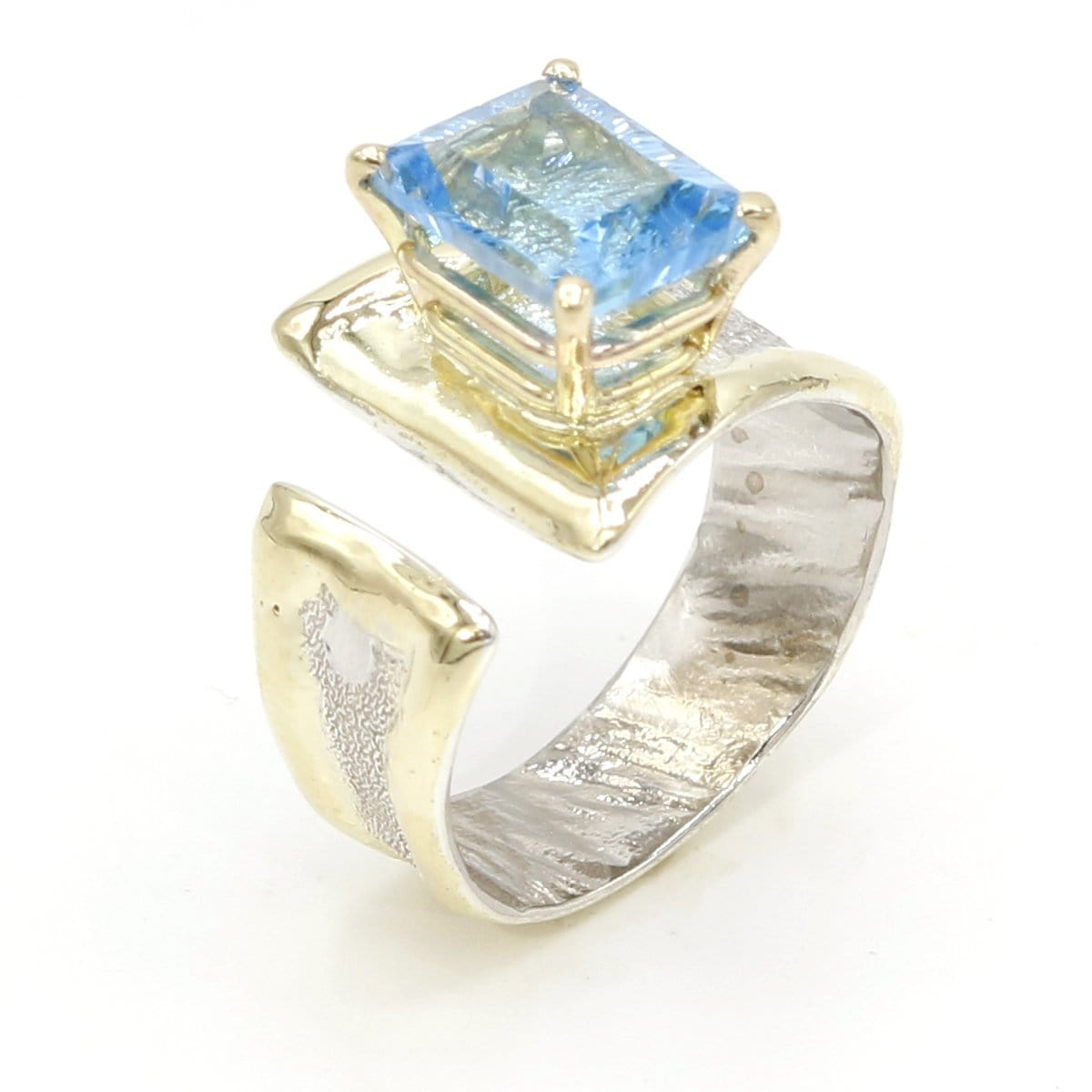 14K Gold & Crystalline Silver Blue Topaz Ring - 37407-Fusion Designs-Renee Taylor Gallery